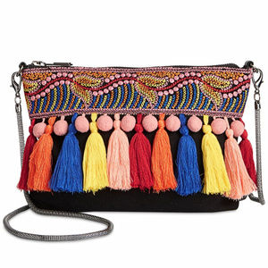 Circus Black Gunmetal Wayne Tassel Crossbody Bag